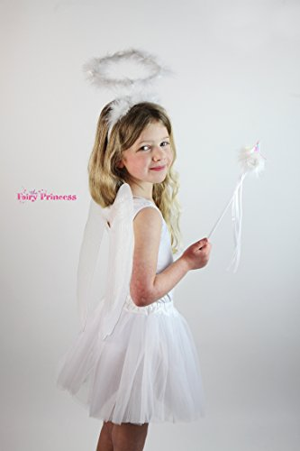 Fairy Princess White Angel Set. Angel Glitter Wings, Wand, Marabou Halo and Tulle Tutu - Fairy Dress Up, Fairy Costume, Book Week, Halloween - Dress Up Halo