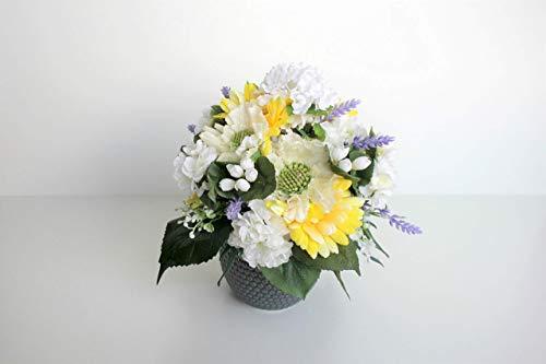 Künstliche Blumen Pflanzen Gesteck centerpiece Seide Blumenarrangements Hochzeit Bouquets Dekorationen Kunststoff Floral Tischdekoration Home Küche Garten Party Dekor (gelb, weiss)