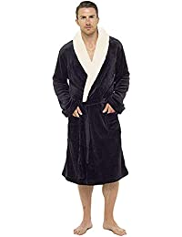f440d58fb4 Mens Dressing Gown Luxury Super Soft Mens Fleece Robe with Hood Gowns  Bathrobe Warm and Cozy