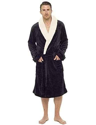 Luxury Mens Hooded Dressing Gown Super Soft Fleece Gowns Bathrobe Bath Robe with Shawl Fur Detail Hood - Perfect Mens Gift (M/L, Navy)…