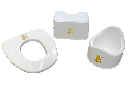 Baby Best Buys Three Piece Basic Toilet 3 in 1 Toilet Training Set : WHITE : Toilet Seat Has Adjustable Arms