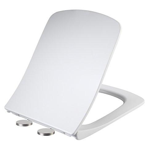 Ultra UF Antibakterielle Quick Release Soft Quiet Close-Toilettensitz mit Absenkautomatik Scharnieren Weiß inkl. Schnellbefestigung Verstellbare Scharniere
