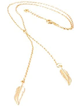 Damen-Schmuck Halskette Feder mit zwei Feder-Anhänger, ACTUALLY HOLLYWOOD Golden FEATHER Necklace, Goldton, 75cm...