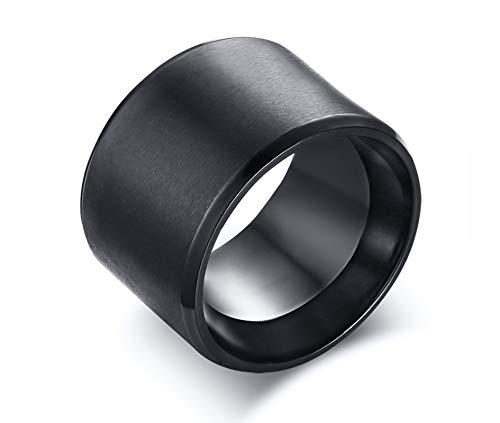 LOUMVE Matt Poliert Edelstahl Ring Breit Herren Schwarz 15MM Partnerringe Verlobungsringe mit Gravur Größe 57 (18.1) (Schwarz Und Rosa Saphir-ring)