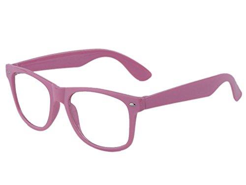 Boolavard® Nerd Sonnenbrille im Wayfarer Stil Retro Vintage Unisex Brille - 45 Modelle wählbar (Dunkles Rosa Klar)