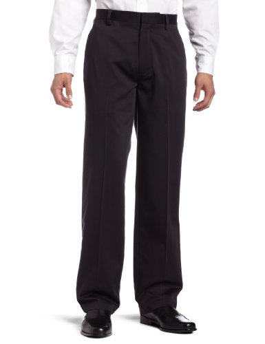 Dockers Mens Never Iron Essential Khaki D3 Classic-Fit Flat-Front Pant Black - discontinued