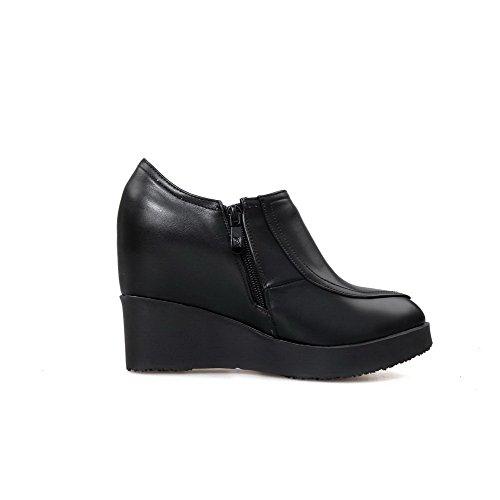 AllhqFashion Femme à Talon Haut Matière Souple Couleur Unie Zip Pointu Chaussures Légeres Noir