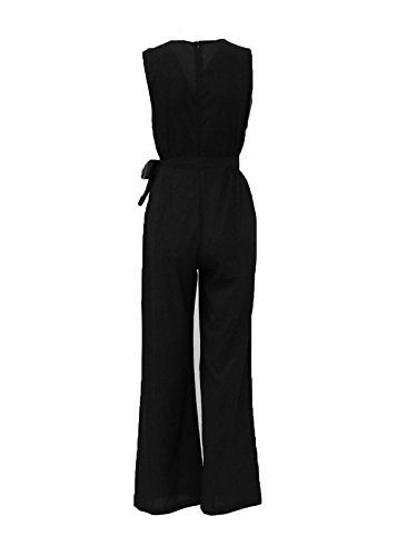 Junshan Damen Jumpsuit Elegant Overall Sommer Catsuit Lang Ärmellos V-Ausschnitt Clubwear Kleidung Playsuit mit spitze weiß off shoulder Schwarz