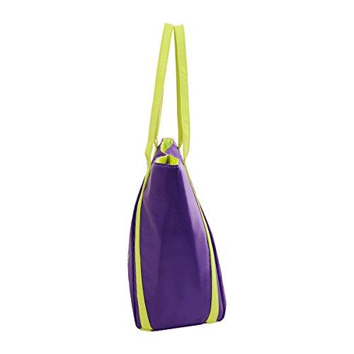 Großes Kapazitäts-Leichtgewicht-stilvolle reisende Tote-Mama-Handtasche PU-Material-Windel-ändernde Beutel LM002 (Rosa) lila
