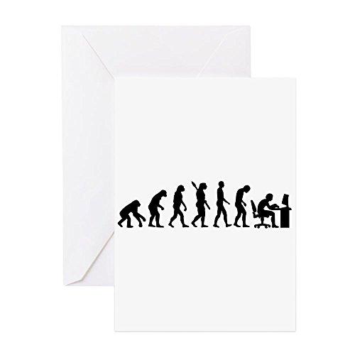 CafePress–Computer Büro Evolution Grußkarte–Grußkarte, Note Karte mit Innen blanko,, Geburtstag Karte oder besonderen Anlass Note Card merhfarbig