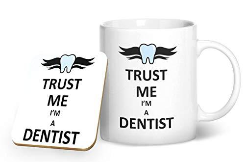 Trust Me I' m A Dentist tazza e sottobicchiere abbinati–stampato tazza & sottobicchiere set regalo