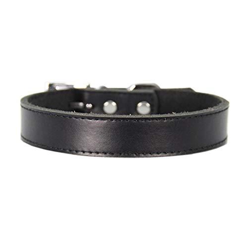 PENVEAT XS-XL Genuine Leather Dog Collar Adjustable Pet Cat Collar Chihuahua Puppy Neck Strap,Black,M - Leder-rolled Strap
