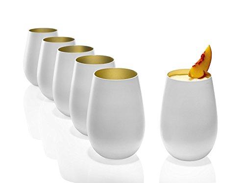 Gobelet Stölzle Lausitz Olympic de 465 ml, lot de 6 verres, verre or blanc (mat) et gold, compatible lave-vaisselle, en cristal sans plomb, de qualité supérieure
