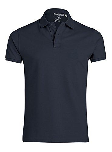 YTWOO Herren Poloshirt Aus Biobaumwolle, Poloshirt Herren Aus Baumwolle (Bio), Polo Shirt Bio, Polohemd Bio. Die Knopfleiste mit Modischen Falten Navy