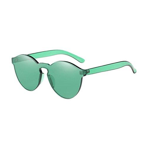 Cloud ROM Frauen Mode Katzenaugen Shades Sonnenbrille integrierte Süßigkeit-farbige Gläser Frauen Candy Farbe Sonnenbrillen Mode elegante Sonnenbrille sonnenbrillen männer frauen (Grün) (Glas Integrierte)