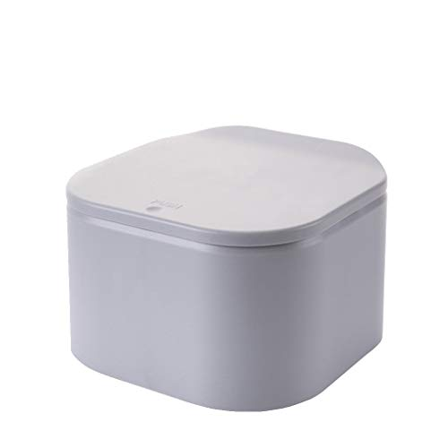 Jintime Mini Desktop Push-on Abdeckung Mülleimer für Kaffeepads und Teebeutel Abfallkorb Bürotisch Mülleimer 19 x 19 x 12 (cm) (Grau)