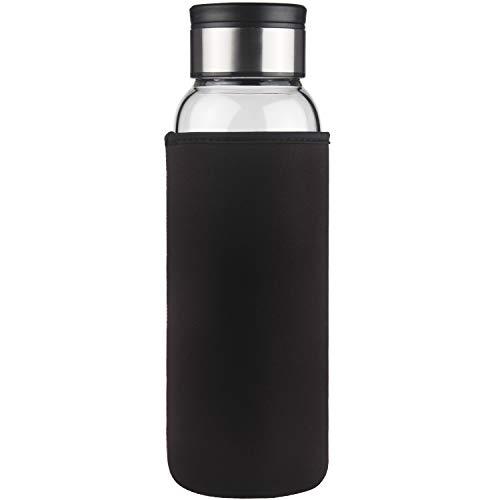 Life4u Borosilikat Trinkflasche Glas Wasserflasche mit Neoprenhülle BPA-frei 1000 ml (Schwarz)