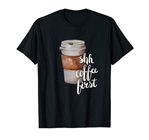 Kaffee First Aquarell Tasse Trinker Neuheit Geschenke T-Shirt (Kaffee-tassen Grüner Berg)
