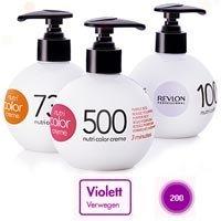 Dunkel Braun Haarfarbe Highlights (REVLON NUTRI COLOR CREME Nr.200 Violett 250 ml)