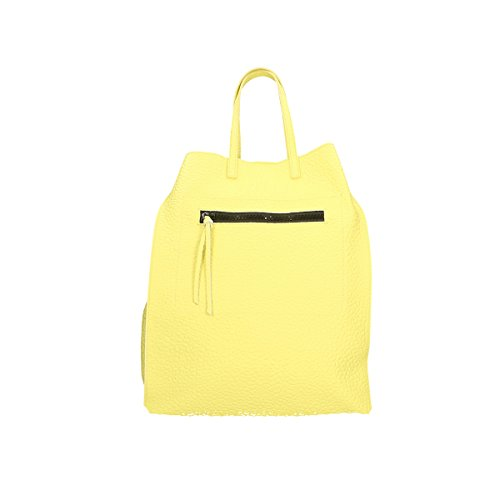 Chicca Borse Borsa a tracolla in pelle 46x34x16 100% Genuine Leather Giallo