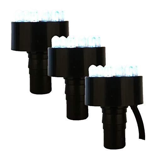 Köhko 3er-Set LED-Ring-Beleuchtung inkl. 2 Meter Anschlusskabel für Quellsteinbrunnen 29002-3er Kaltweiß (3 Lampen-set)