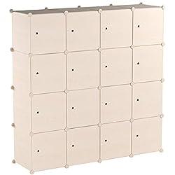 PREMAG Armoire Penderie Portable Cubes de Stockage avec Motif en Bois modulaire en Plastique en métal avec cintres pour vêtements, Accessoires, Jouets (20 New)