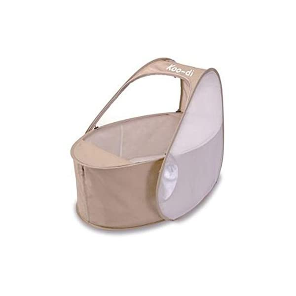 Koo-di Pop-Up Lightweight Compact Travel Bassinette Includes Mosquito Net and Padded Mattress - Cafe Crème - Suitable from 0-6 Months Approx Katies Playpen - Baby Best Buys The Pop Up Travel Bassinet is quick and easy to use. Weighing less than 1kg, it is ideal for holidays or weekends away. Suitable for use at home or in the garden too, the Pop Up Travel Bassinet is the perfect solution for restful sleep where ever your little one is. Folds easily into a compact carry bag measuring only 28cm wide 2