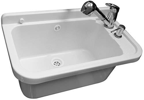 Waschbecken Ausgussbecken mit Armatur 59 cm x 34 cm x 21 cm Spülbecken Waschtrog mit Überlauf Waschbecken für Gewerbe Waschraum Garten inkl. Ablaufgranitur