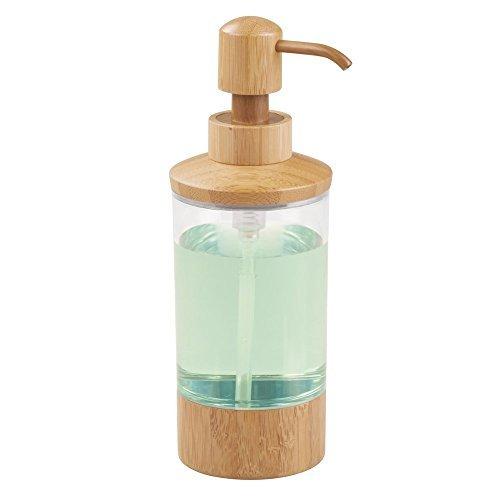 mDesign Seifenspender wiederbefüllbar - edler Pumpseifenspender aus natürlichem Bambus mit 295 ml Füllmenge - für die Küche oder als Badzubehör