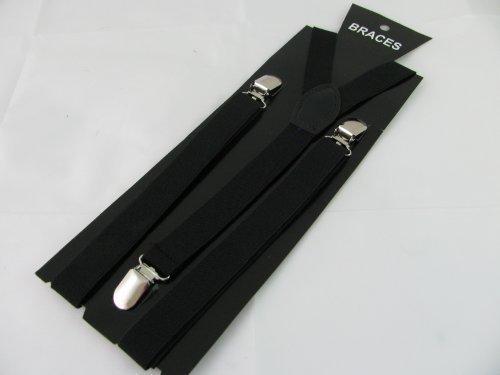 Paar schmal Mode Hosenträger [Strapshalter] in schwarz 2cm breit, verstellbar mit Metall Justierer und Snap Befestigungselemente
