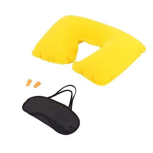 sourcingmap® Couchage voyage gonflable repos oreiller Forme U Masque Yeux 3 en 1 Écouteurs