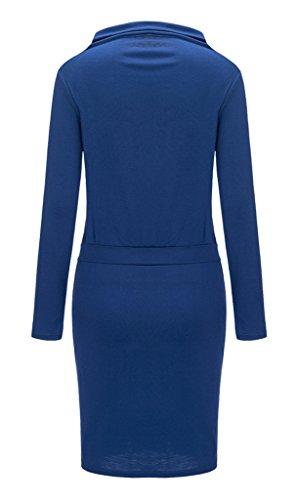 Bigood Robe Hiver Femme Pull Manche Longue Col Roulé Robes Moulantes Cocktail Soirée Casual Mode Bleu