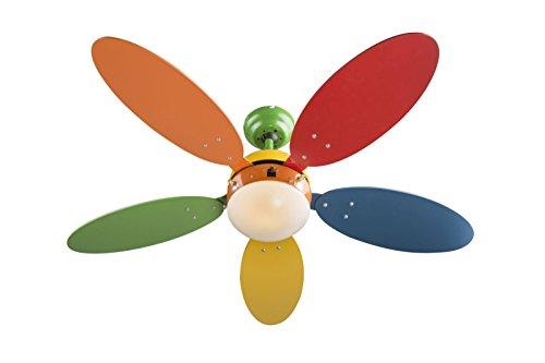 Beleuchtung Leise Zugschalter Deckenleuchte mit Ventilator (Flügel Bunt, Deckenlampe, Kinderzimmer, 106 cm) ()