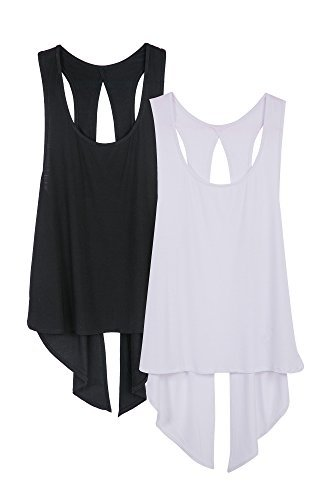 icyzone Damen Tank Tops Casual Kurzarm Rückenfrei Shirts für Yoga Workout (S, Black/White)