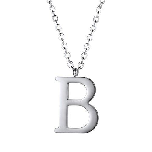 PROSTEEL Halskette Edelstahl Buchstabe B Alphabet Charme Anhänger Halskette Fashion Anfangsbuchstabe Modeschmuck mit 55cm Rolokette Silber