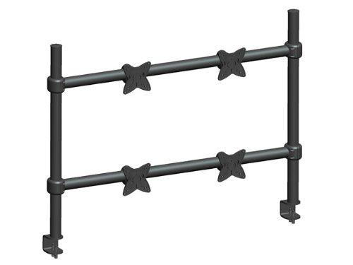 MonopriceEinstellbareneigbareQuadTischhalterung- Schwarz Für Bildschirmgrößen bis zu 58 cm mit 15 kg Maximalgewicht pro Anzeige, Stahlkonstruktion mit Aluminium-VESA-Platte -