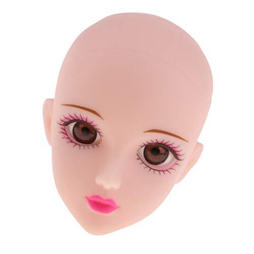MagiDeal Schöne Weibliche Puppe Kopf Sculpt Modell Ohne Haar mit 3D Augen Körperteile für 1/6 OB, kurhn, BJD Mädchen Puppe - Schwarze Augen