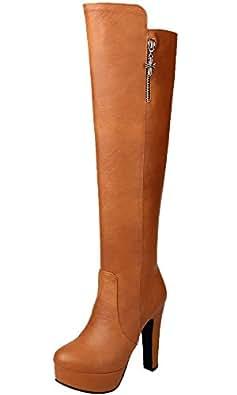 BIGTREE Knie Hohe Stiefel Damen PU Leder Casual High Heel Herbst Winter Warme Plateau Lange Stiefel von Schwarz 36 EU YIpvfR