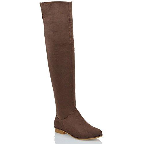 Essex Glam Damen über dem Knie hohen Flache Veloursleder-optik Oberschenkellange Stiefel Braun Wildlederimitat