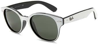 Ray-Ban RB4141 Round Wayfarer Sunglasses,White On Black