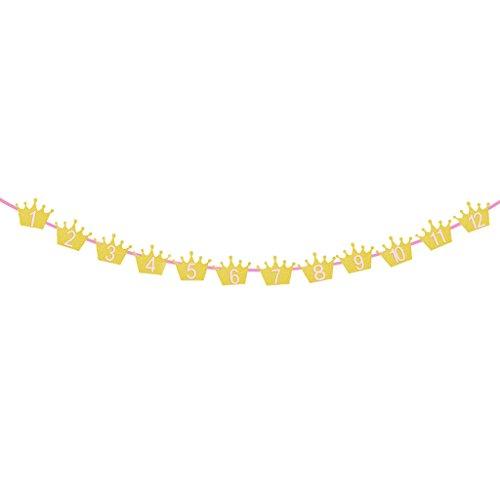 Fenteer Holz Klammern deko klammern DIY Foto Papier Clips mit deko Krone Baby Party Girlande Banner - Rosa Gold, 4m