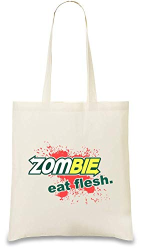 - Zombie Eat Flesh Custom Printed Tote Bag| 100% Soft Cotton| Natural Color & Eco-Friendly| Unique, Re-Usable & Stylish Handbag For Every Day Use| Custom Shoulder Bags By Josh ()