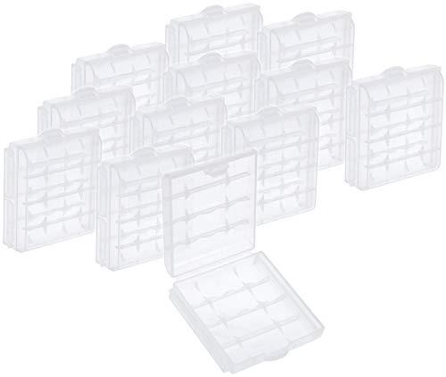 COM-FOUR® Batteriebox für AA und AAA Batterien Aufbewahrung Case – 10 Stück (Weiß)