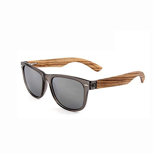 Einfache Brille Aviators Style Wooden Glasses Polarized für Männer und Frauen, die 100% UV blockieren (Farbe : Grau, Größe : Casual Size)