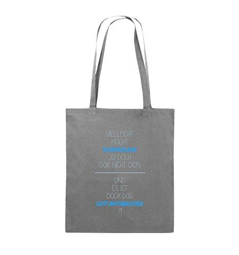 Comedy Bags - Vielleicht macht Schokolade ja doch gar nicht dick. - LEITUNGSWASSER - Jutebeutel - lange Henkel - 38x42cm - Farbe: Schwarz / Weiss-Neongrün Dunkelgrau / Eisblau-Blau