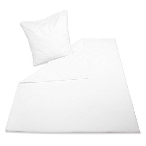 ZOLLNER® Garnitur Bettwäsche weiß uni aus hochwertiger Renforcéqualität (80/80 cm + 140/200 cm), direkt vom Hotelwäschespezialisten, Serie
