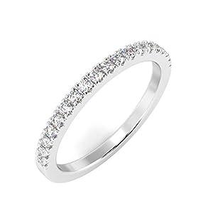 Buyfinediamonds Ewigkeitsring, 2 mm, hochwertig, 100 % natürlich, 0,25 Karat Diamant, Micro Pavé-Fassung, personalisierbares Metall mit Punze aus 9 Karat Gold, 18 Karat und Platin mit F/VS