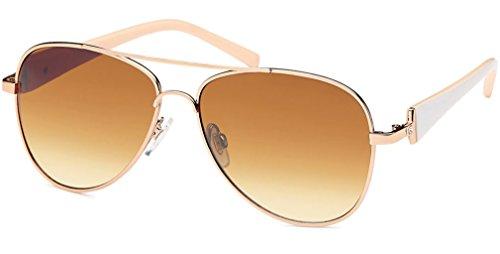 UVprotect® Damen Aviator style Sonnenbrille metall Rahmen gold weiss W21-2