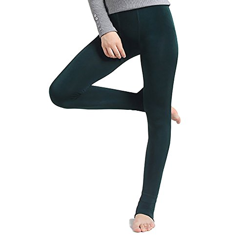 StillCool Leggings Sexy Damen Winter Leggings im angesagten Style mit Innenfleece extra warm Innenfutter Fleece Leggins (gruen) (Fleece Leggings)