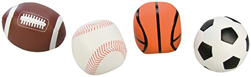 Lena 62164 - Soft Sportbälle 4er Set, Bälle als Fußball, Volleyball, Basketball und Rugbyball, Softbälle je 10 cm, im Netz, Spielbälle für Kinder ab 1 Jahr, Schaumstoffbälle zum Spielen und Baden -